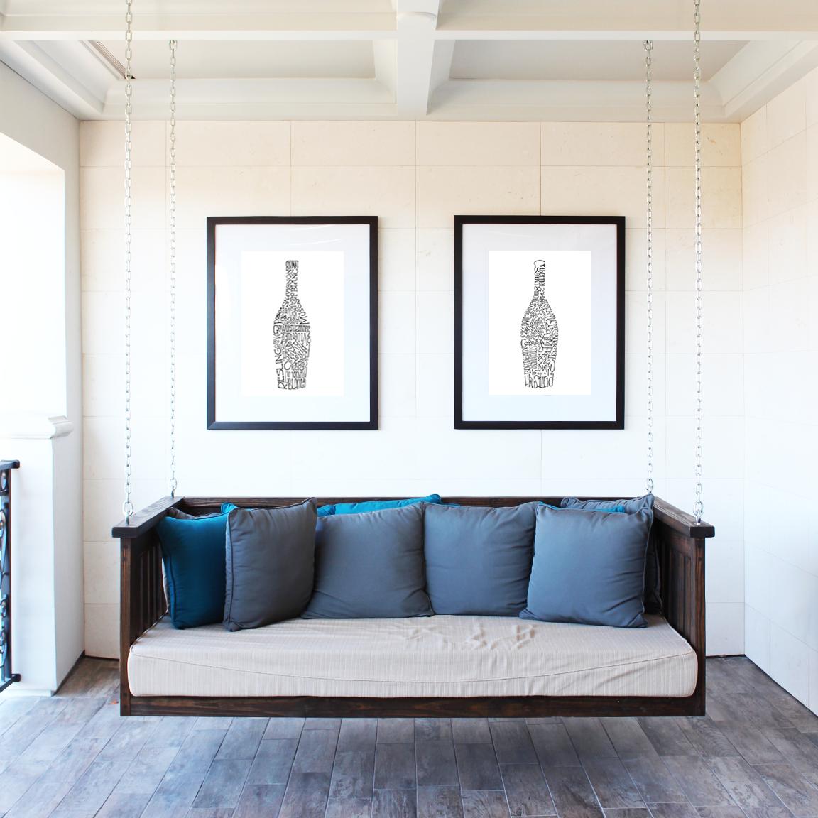 Wine bottles home decor - set of 2, ink drawn typography print ...