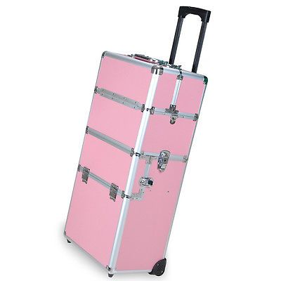 Pro Aluminum Rolling Makeup Train Case Salon Artist Cosmetic - Aluminum trolley case pro rolling makeup cosmetic organizer