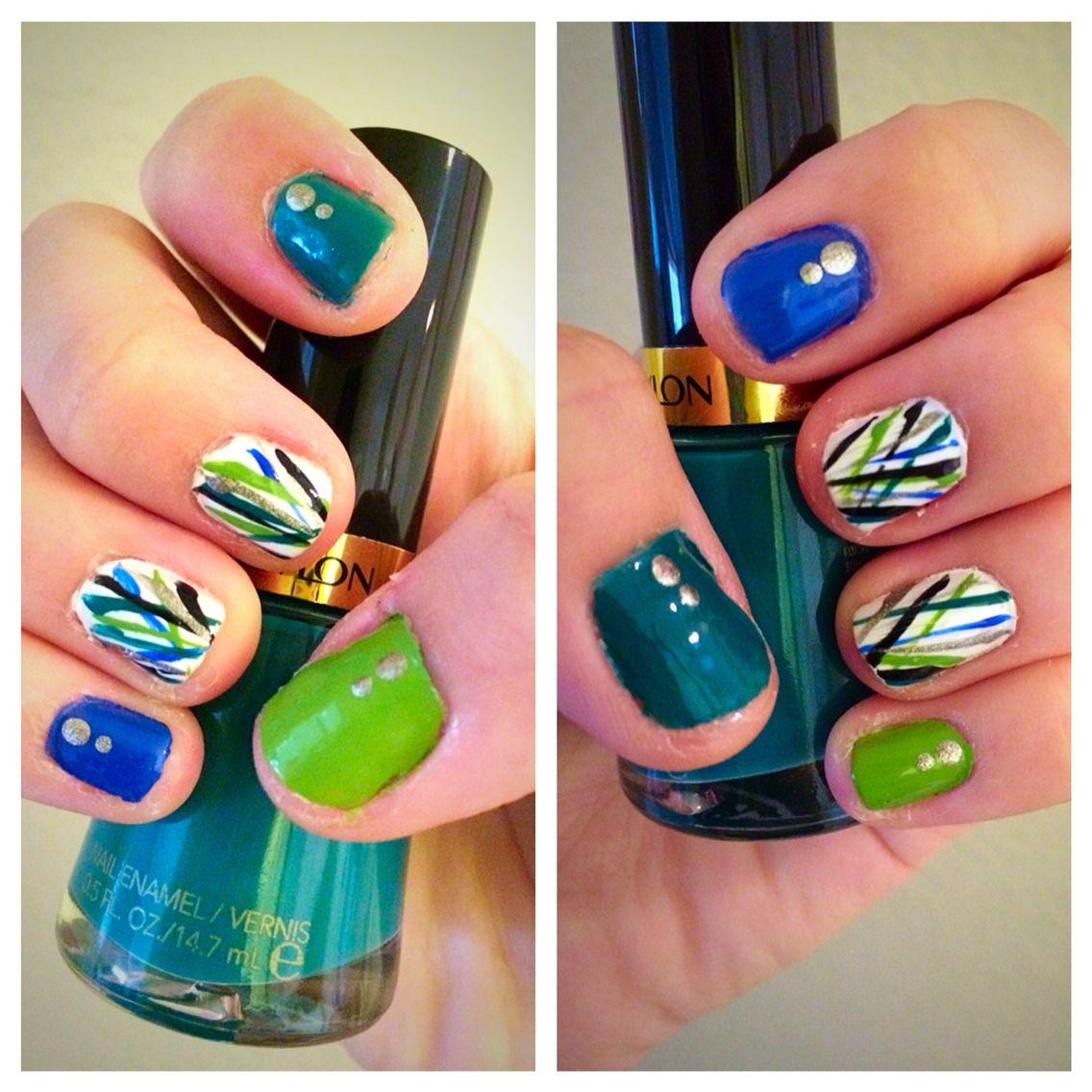 Concrete And Nail Polish Striped Nail Art: Blue, Green, Black And Silver Stripe Nails. Used Revlon