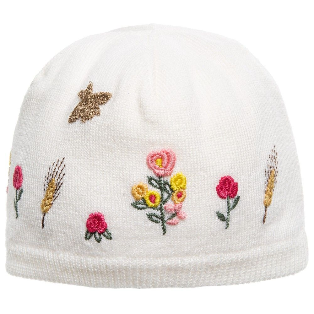 Baby Girls White Wool Beanie Hat with Flowers, Gucci, Girl