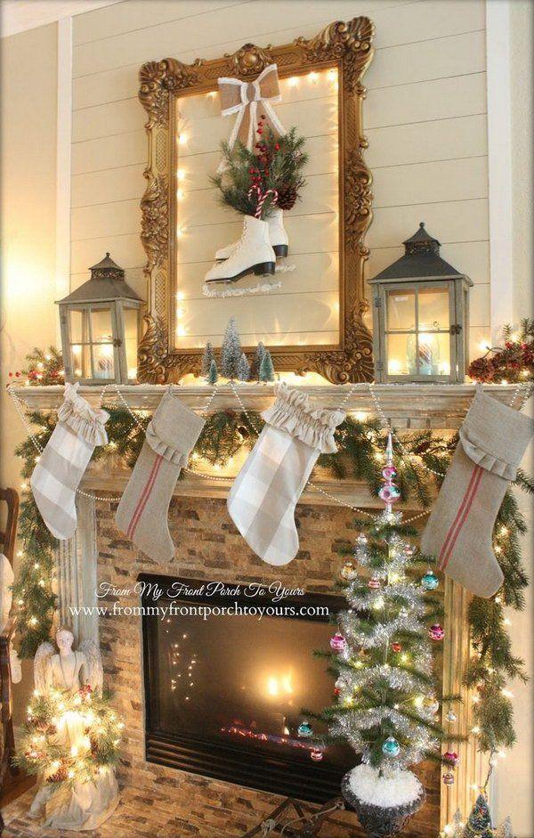 25 Gorgeous Christmas Mantel Decoration Ideas Tutorials With Images Christmas Mantel Decorations Christmas Mirror