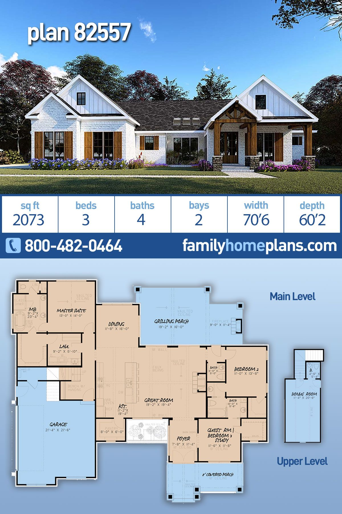 One Story Style House Plan 82557 With 3 Bed 4 Bath 2 Car Garage Family House Plans House Plans Farmhouse Modern Ranch House