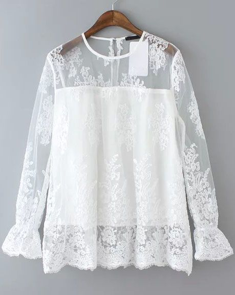 White Round Neck Sheer Lace Loose Blouse 26.00