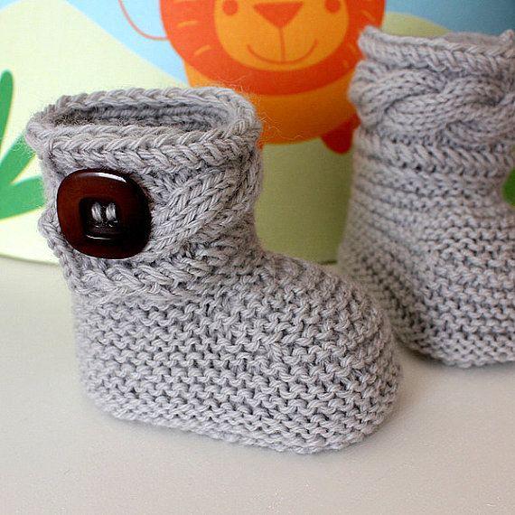 Knitting Pattern (pdf file) Stylish Baby Boots ( sizes 0-6/6-12 ...