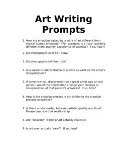 writing prompts for art could assign as journal entries or add in  writing prompts for art could assign as journal entries or add in during criticism or