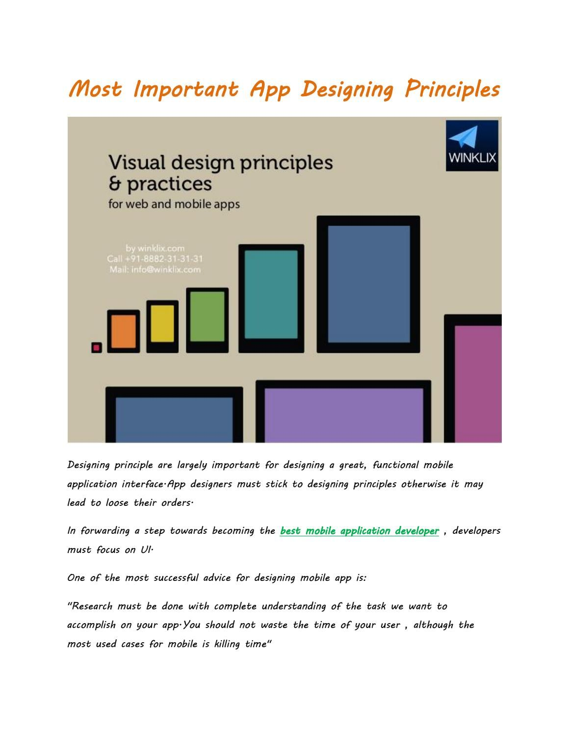 Most important app designing principles App, App design
