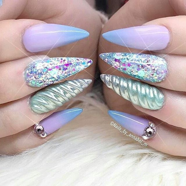 Unicorn Nails 47 Playful Glitter That Shines From Every Angle