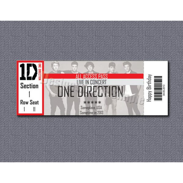 Custom Concert Ticket Gift Certificate - One Direction - Printable