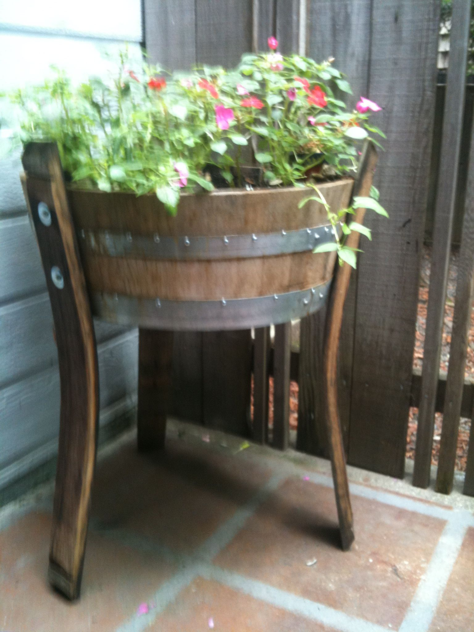 Quarter Barrel Planter With Stave Legs Diy Home Projects