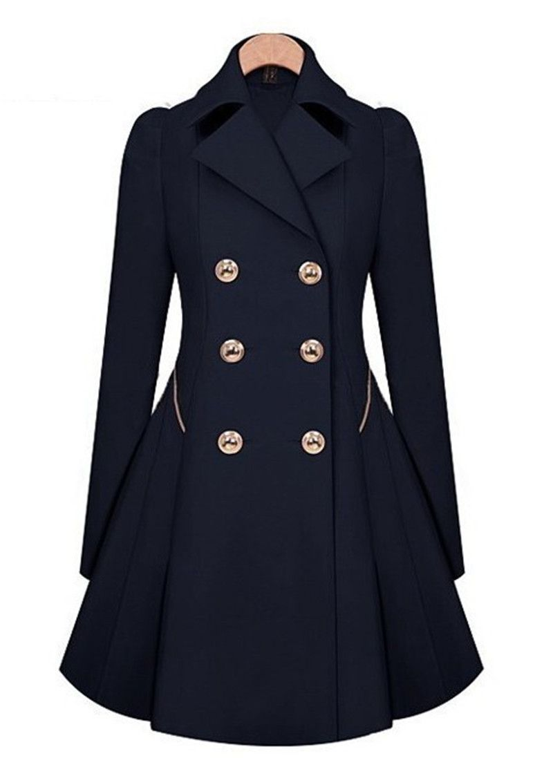 Gender: Women Outerwear Type: Trench Decoration: Button Clothing Length: X-Long Pattern Type: Solid Type: Skirt Closure Type: Double Breasted Style: Fashion Fabric Type: Woven Material: Cotton,Polyester,Spandex Collar: Turn-down Collar Sleeve Length: Full Model Number: W054
