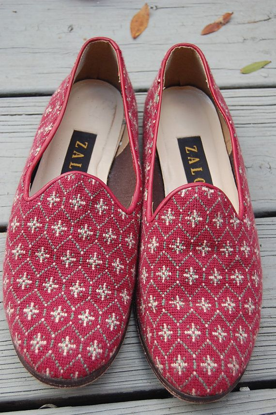 64dd1c9a85e Vintage Zalo Preppy Classic Needlepoint Loafers Shoes by MaidenhairVintage