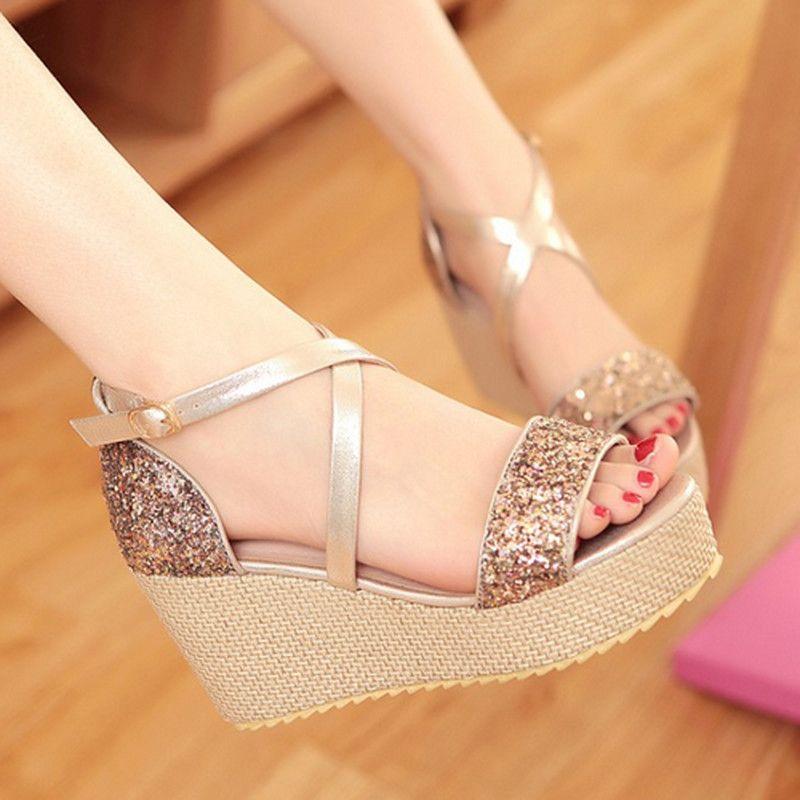7046381cd Encontrar Más Sandalias de las mujeres Información acerca de Plataformas  moda tacones altos sandalias zapatos para mujeres Sexy Casual Glitter Peep  Toe ...