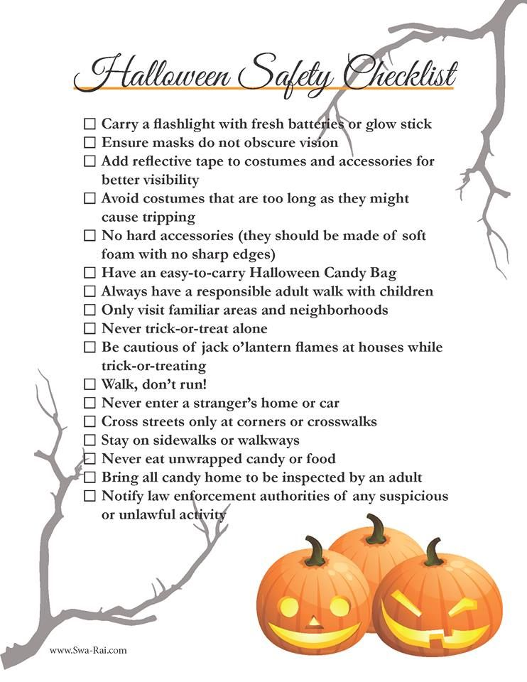 free printable halloween safety checklist swa rai - Halloween Safety Printables