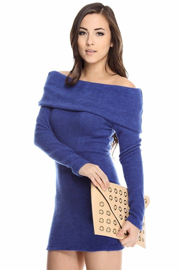 royal blue sweater dress#blue sweater dress#off shoulder sweater ...