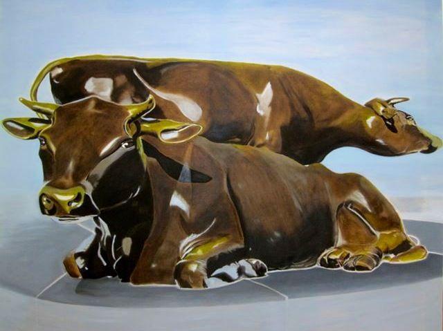 Koeien van de Koemartk. Handmade by Silvia Koning