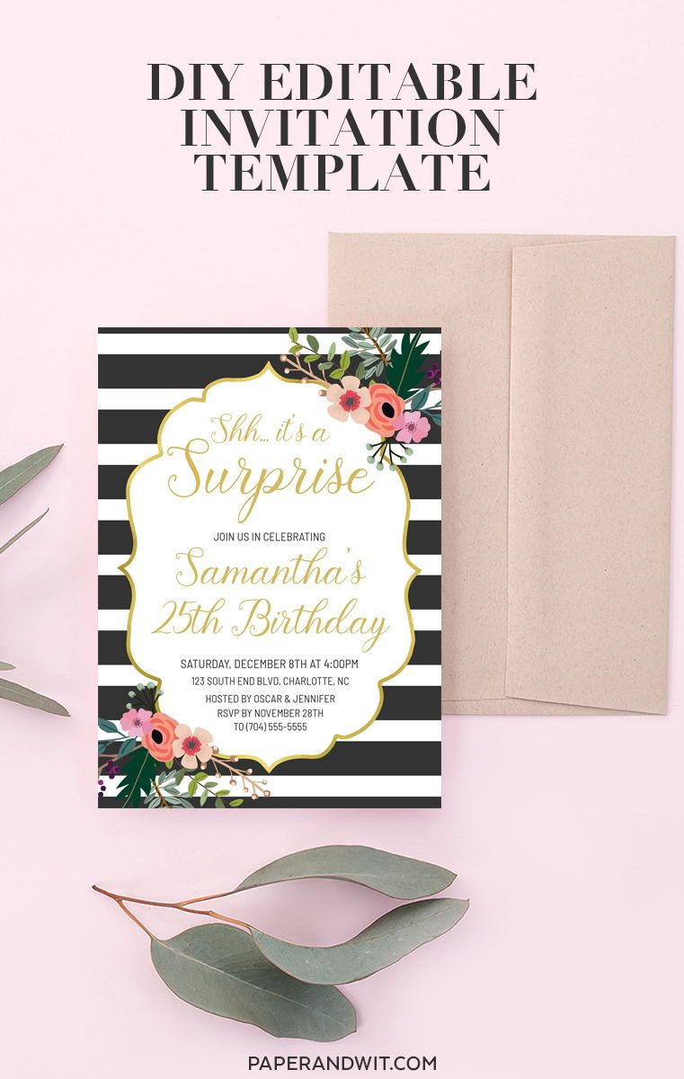 floral birthday invitations for women surprise birthday invitation