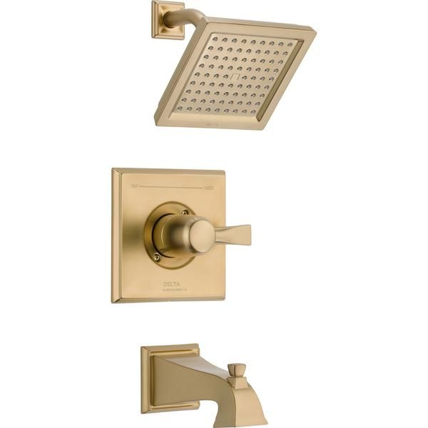 Delta Dryden Modern Square Champagne Bronze Tub And Shower Faucet