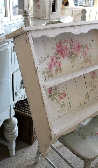 Custom Color and Decorative Shabby Chic  Large Vintage Style Roses Shelf