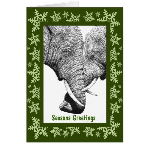 african elephants christmas card  zazzle  christmas