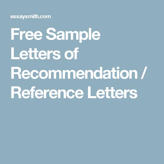 Free Sample Letters Of Recommendation  Reference Letters  Canada