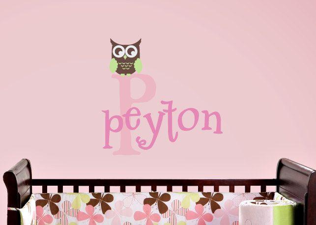 Owl Wall Decal Name and Monogram Set - Children Nursery Baby Playroom Vinyl Decal - Girl & Owl Wall Decal Childrens Name Decal Girl Bedroom Decor Childrens ...