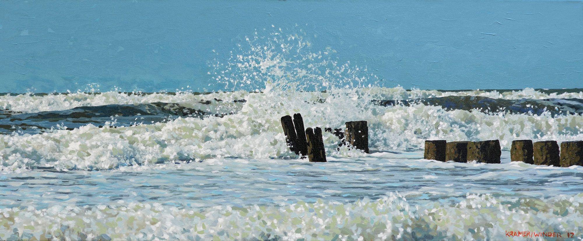 Zeezichten van bergen photopaintings beach strand for Schilderij zeezicht