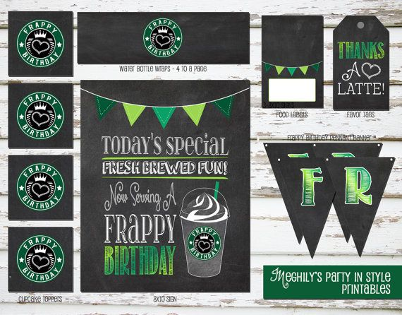 Print Your Own Coffee Birthday Frappe Birthday Party Pack Coffee Lover Instant Download Starbucks Frappe Holidays Party Pack