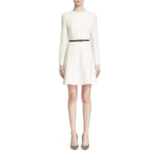 Valentino Crepe Couture Dress ($3,490) ❤ liked on Polyvore featuring dresses, ivory, a line mini dress, long sleeve mini dress, white mini dress, a line dress and valentino dresses