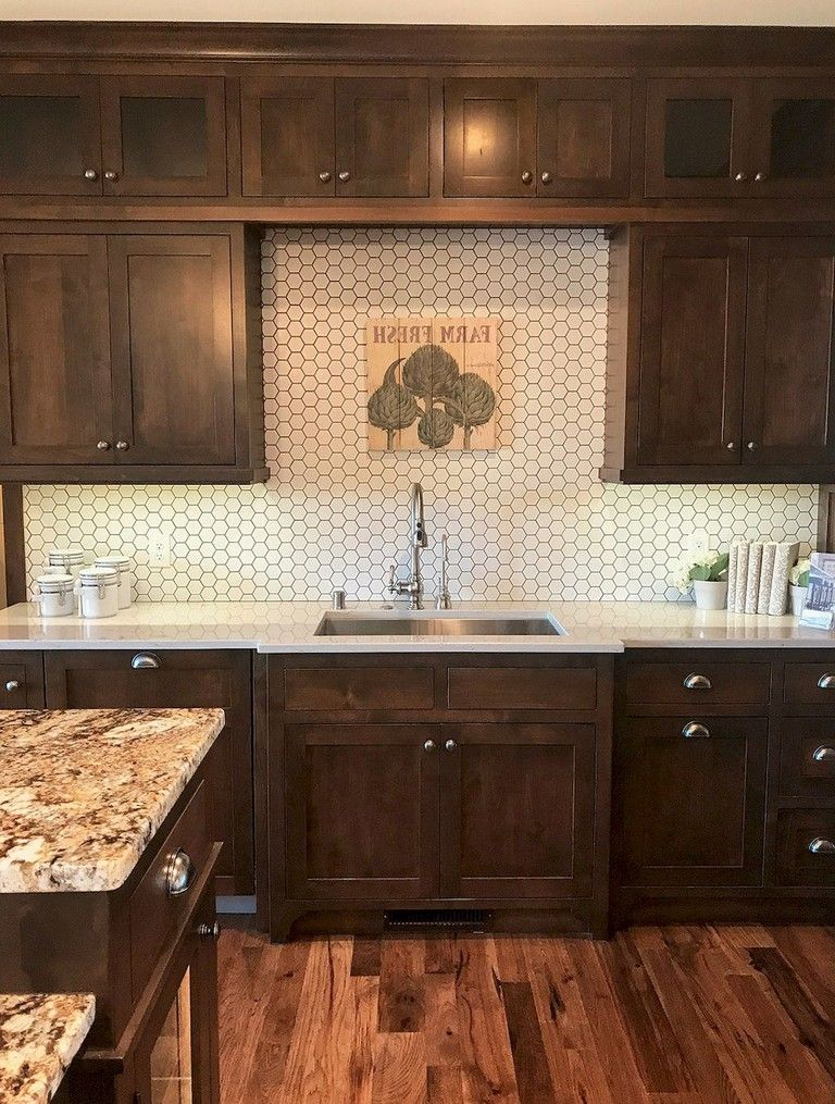 92 Amazing Kitchen Backsplash Dark Cabinets Dark Wood Kitchen