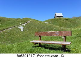 Chapel And Bench  - Art Print