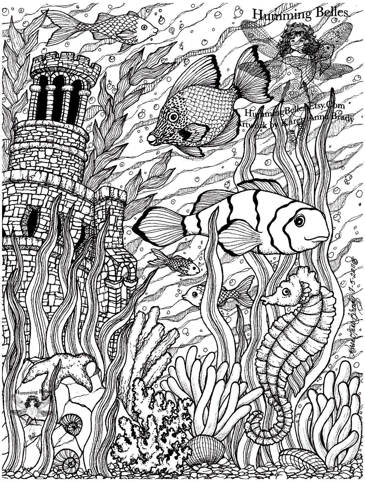 Free coloring page coloringpoissonsdifficult5