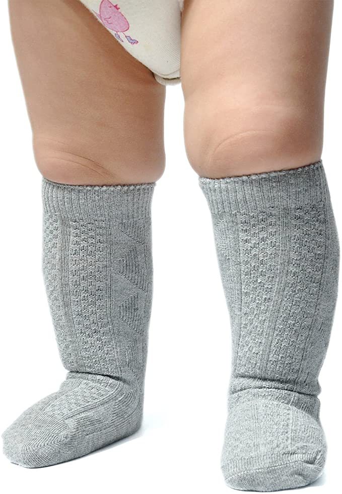 Pack of 3//6 Epeius Unisex-Baby Seamless Cable Knit Knee High Socks