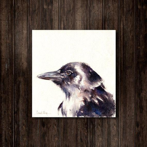 #Raven Original Watercolor Painting Bird Watercolour Art  One of a Kind Watercolour #Art   Scale 8.25x8.5'' (21x22 cm)  Medium: top branded watercolor paints on Khadi handmad... #art #etsy #trending #sale #decor #painting #bird #aquarelle #raven