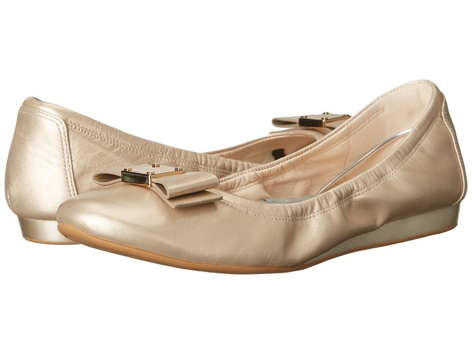 COLE HAAN COLE HAAN - TALI BOW BALLET (SOFT GOLD) WOMEN'S SLIP ON SHOES