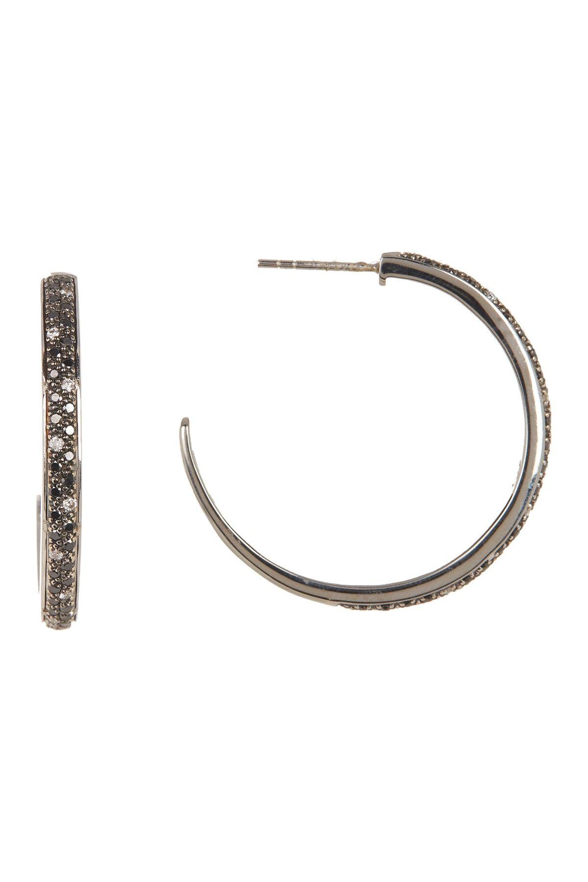 950ad0182 ALOR   18K White Gold Hoop Diamond Accent Earrings - 0.92 ctw ...