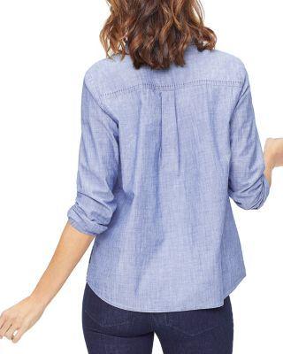 NYDJ Womens Chambray Denim Shirt