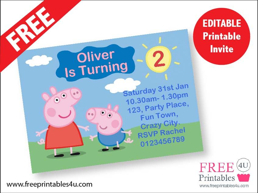 Free Peppa Pig Invites Freeprintables4u Birthday Invitations Printables