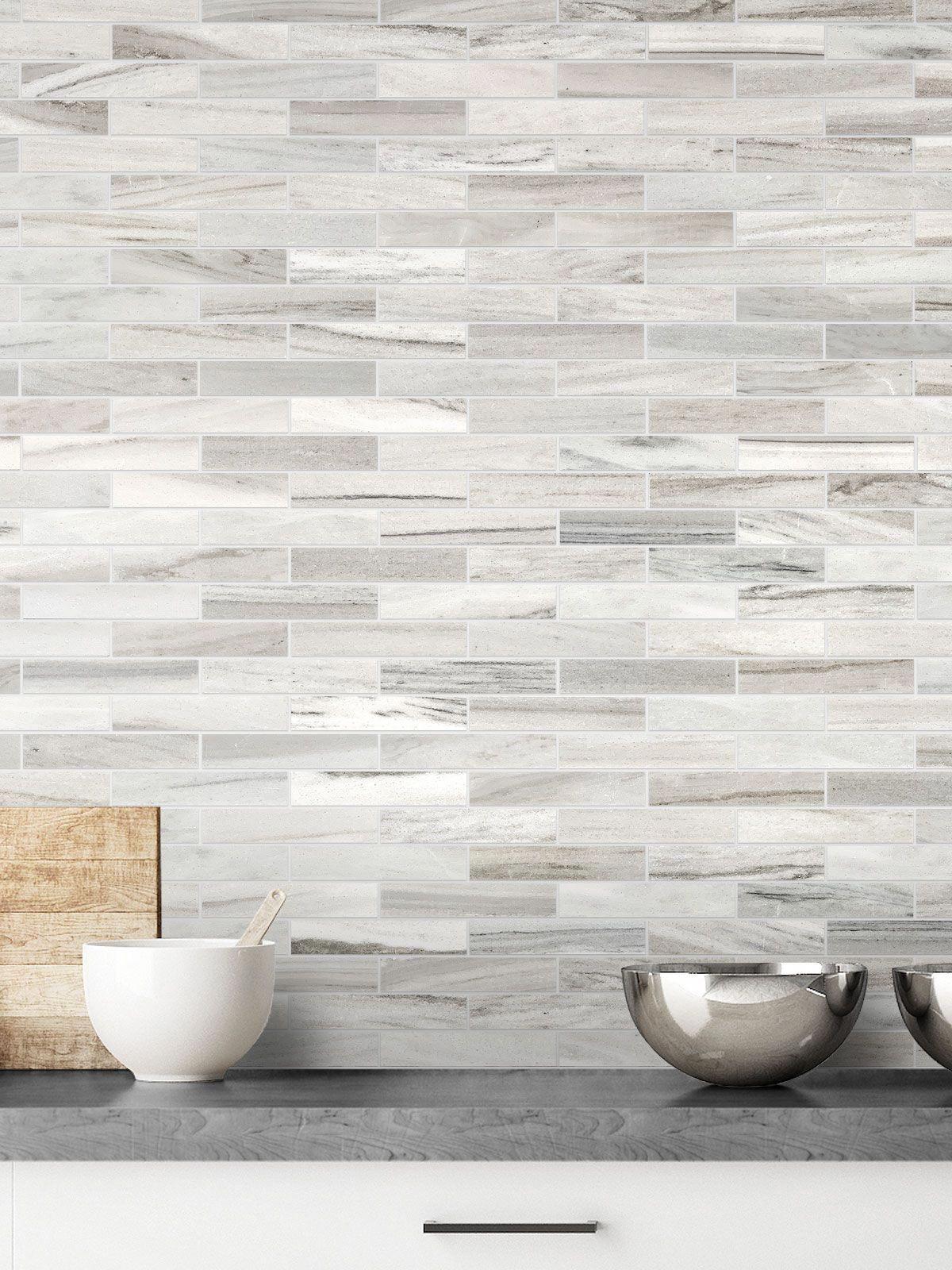 - Modern White Gray Subway Marble Backsplash Tile In 2020 Marble