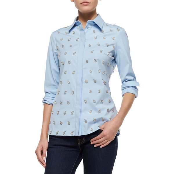 Michael Kors Embroidered Classic Button-Down Shirt ($1,270) ❤ liked on Polyvore