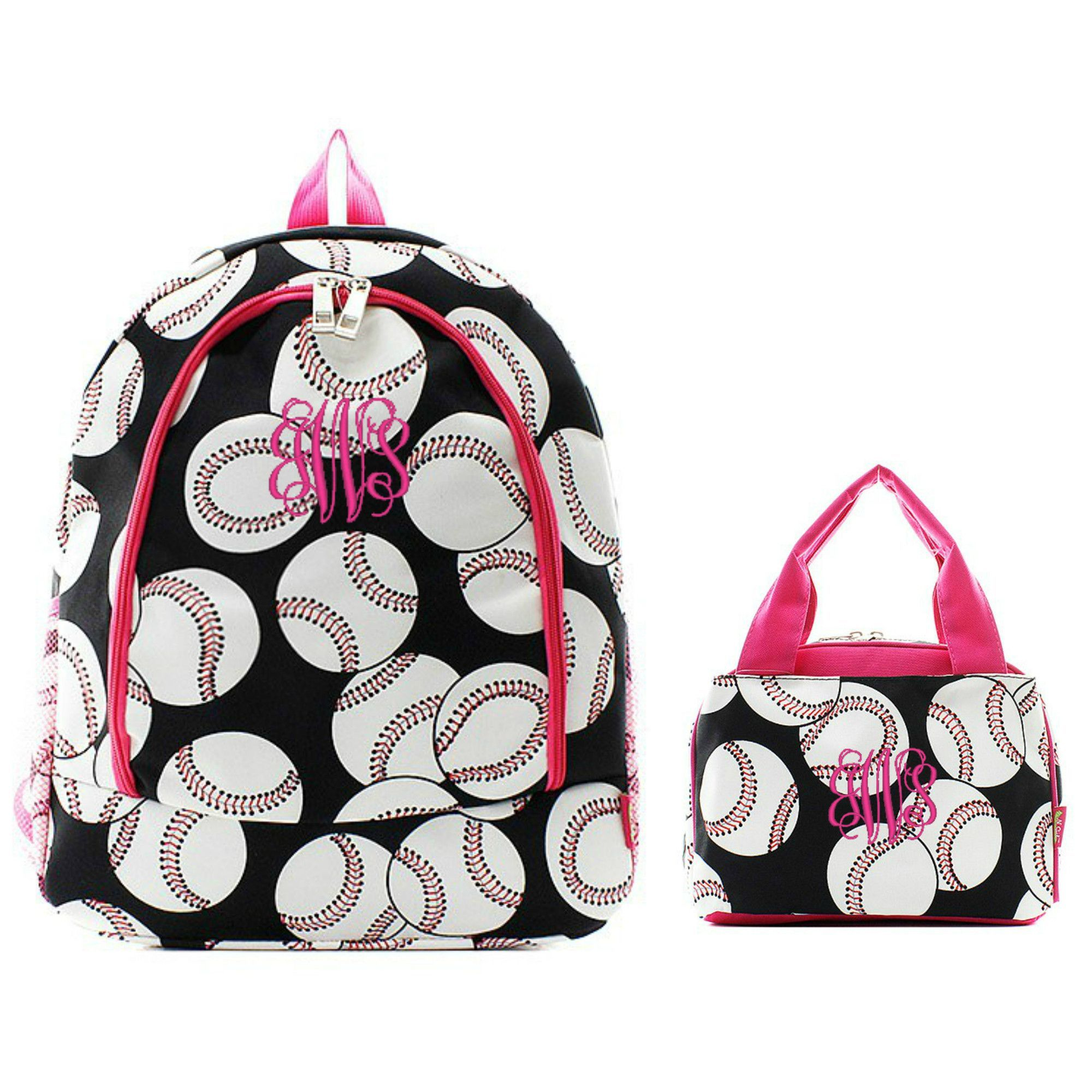 Matching Baseball Pink Personalized Kids Backpack & Lunch Bag Set ...