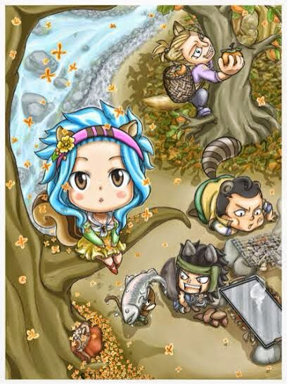 Levy, jet, droy, and gajeel as little woodland creatures! | ~*Fairy