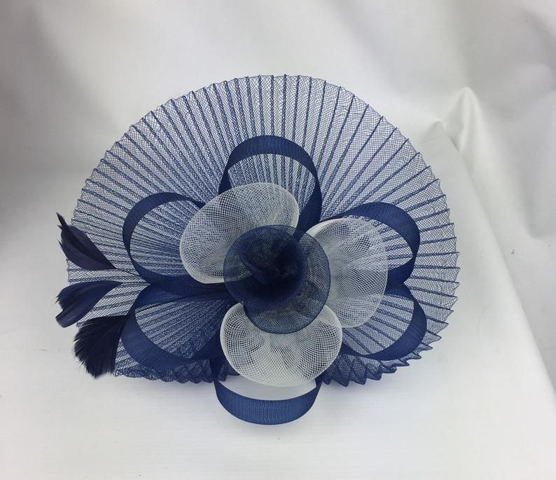 Blue and White Fascinator Wedding Hatinator Mother of the Bride Ladies Day & Ascot Races Occasion Event #fascinatorstyles