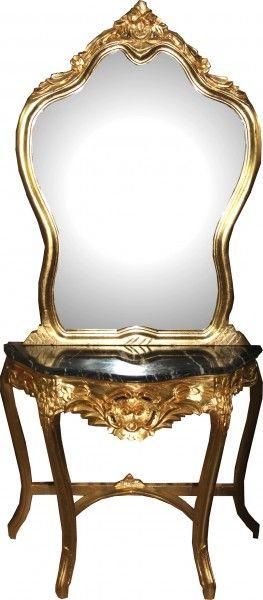 casa padrino barock spiegelkonsole mit marmorplatte gold mod2 antik look konsolen barock spiegel barock