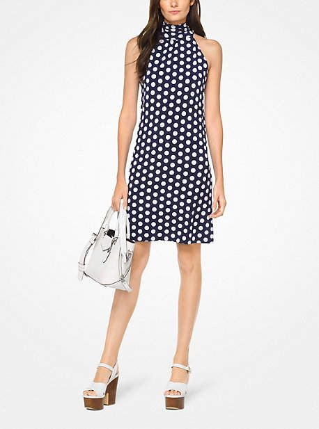 154e6eaaa8 Michael Kors Polka Dot Matte-Jersey Halter Dress