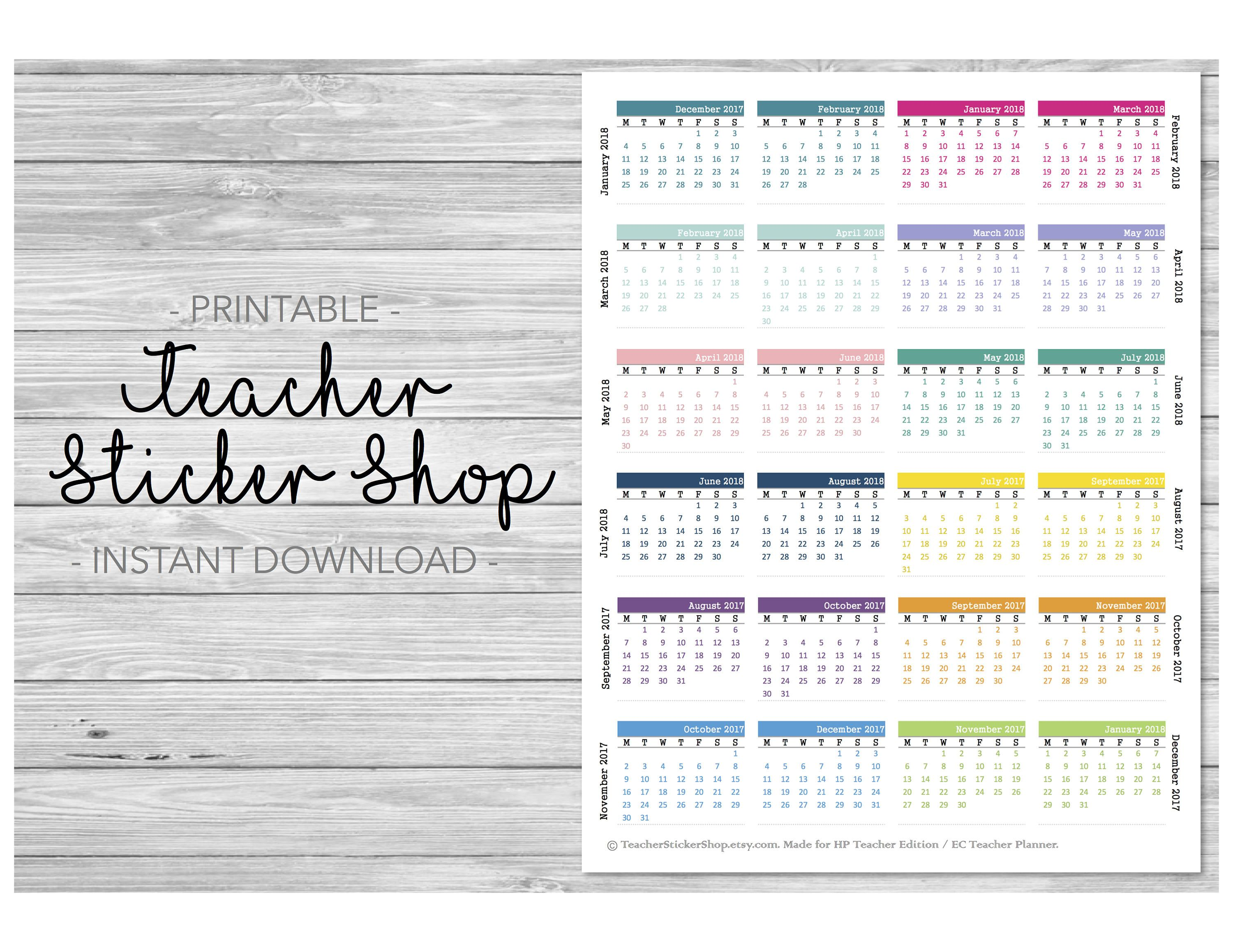 2017 2018 mini calendars sticker printable for planners erin condren happy planner plum planner
