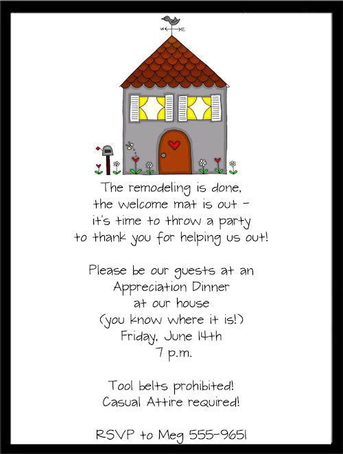 Housewarming Party Invitation Wording New Remodel Housewarming
