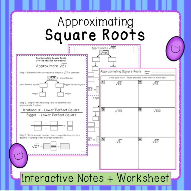 Estimating Square Roots  Interactive Notes And Worksheet Ns