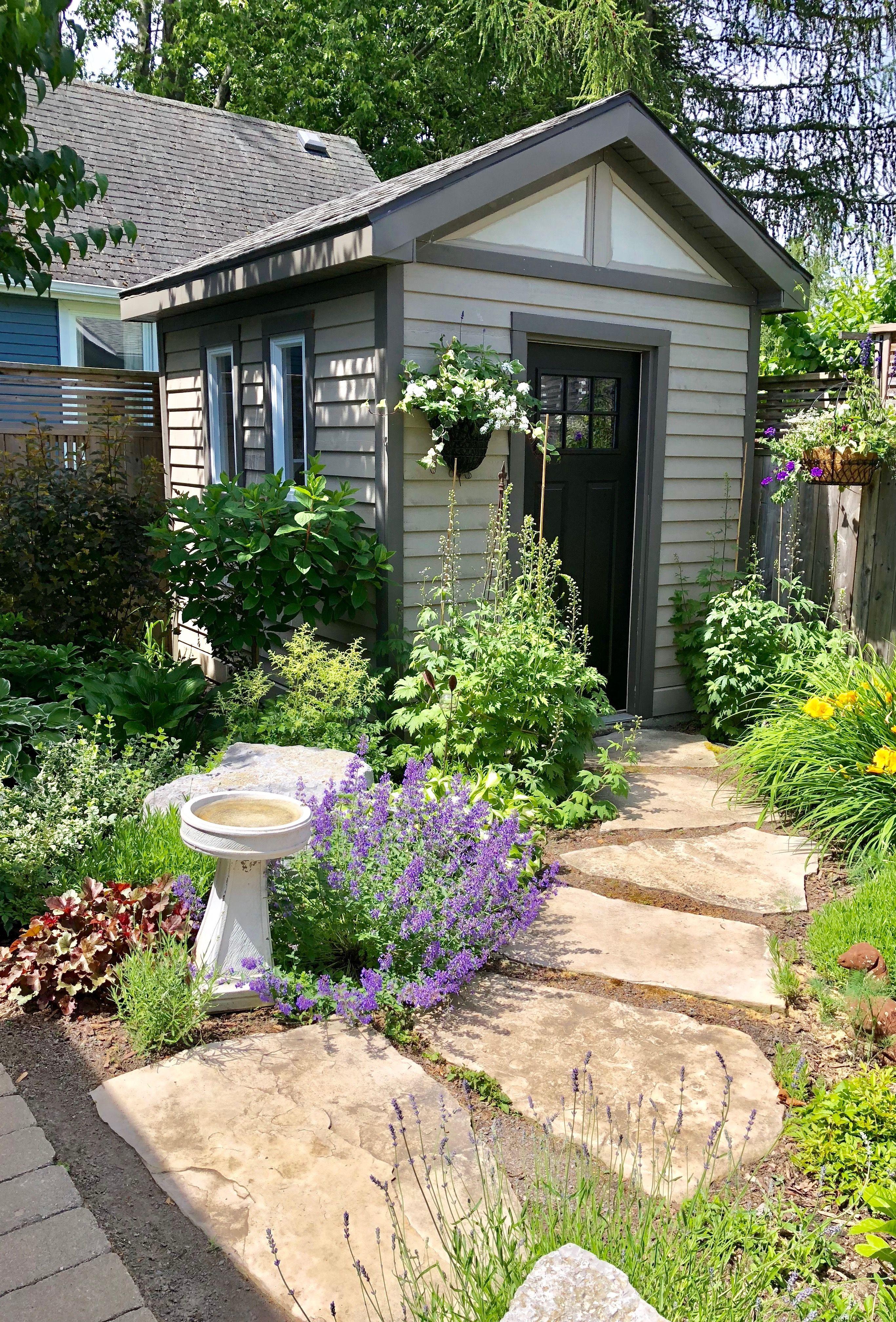 My She Shed Cottage Garden Backyard Landscaping Shed Landscaping Backyard landscaping ideas with sheds