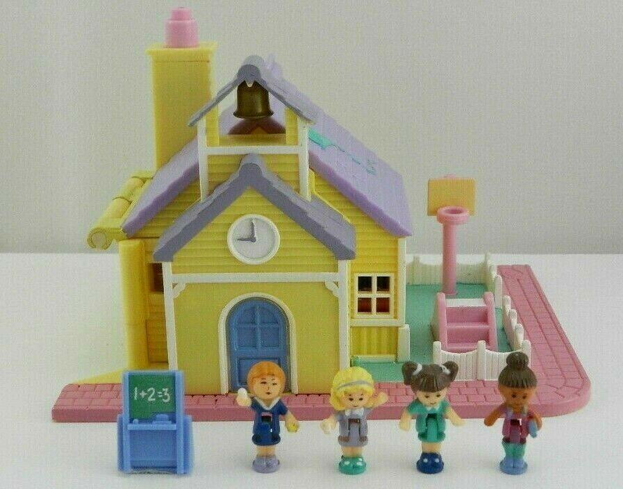 Vtg Polly Pocket Schoolhouse 1993 Bluebird Near Complete Lights Work