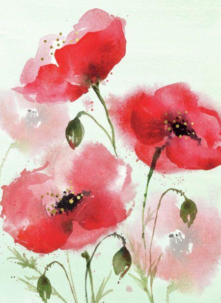 Di Brookes Mohn Malerei Blumen Aquarell Blumen Malen
